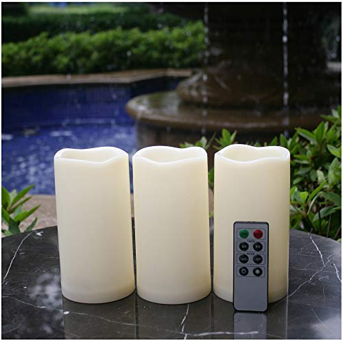 "Waterproof Outdoor Flameless LED Candles - with Remote and Timer Realistic Flickering Battery Operated Electric Plastic Resin Pillar Candles for Christmas Decoration 3-Pack 3""x6"""