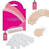 HILINGBORA Fashion Beauty Tape (60 Stück) Doppelseitig für Mode und Körper & Klebende BH-Blütenblatt-Tops (5 Paar blütenförmige Brustwarzenbezüge)