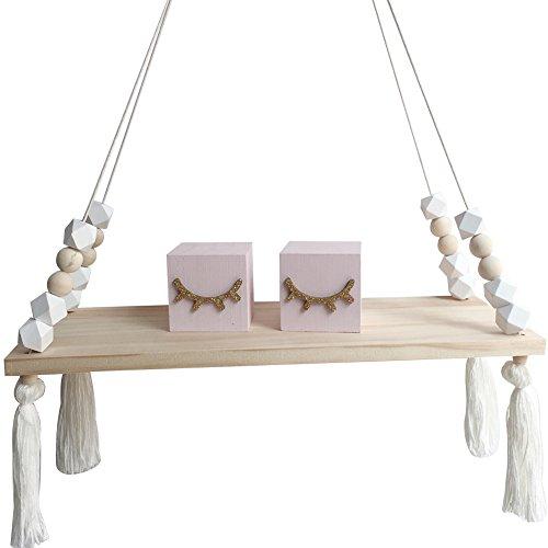 Estante colgante, de madera, para pared, ideal como decoración, de estilo nórdico, con cuentas y borlas, Blanco, talla única