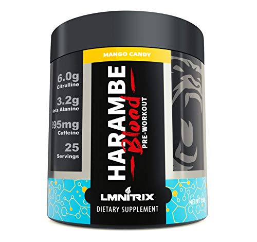 Harambe Blood Preworkout Powder for Men & Women - Extreme Pump and Energy Supplement - Mango Candy - 350g