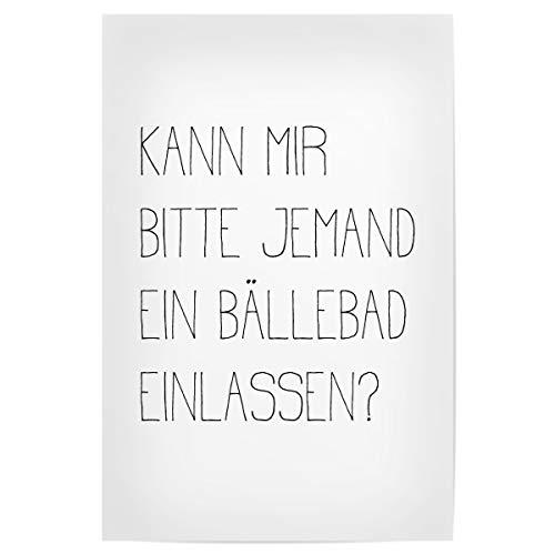 artboxONE Poster 90x60 cm Typografie BÄLLEBAD - Bild lustige sprüche sprüche Badezimmer
