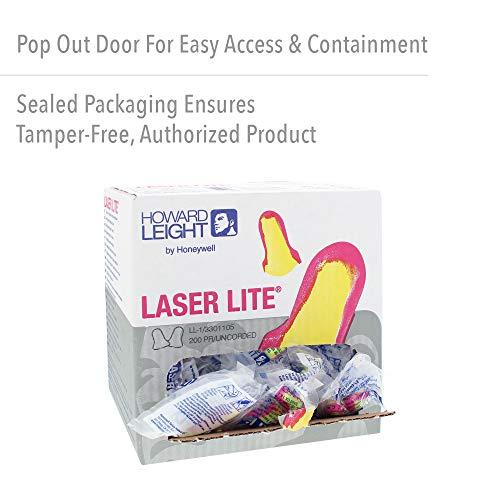 Honeywell 345808 Laser Lite Einweg-Ohrstöpsel, ohne Kabel, Gelb/Rosa, 200 Pairs, Stück - 5