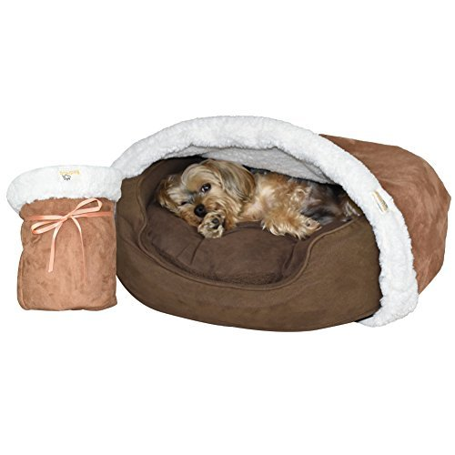 BedHug   Pet Burrow Blanket   for Dogs & Cats   Naturally Relieves Stress, Separation Anxiety & Nervousness   Ultra Cozy & Plush   Attaches to Your Own Pet Bed   Caramel, Small