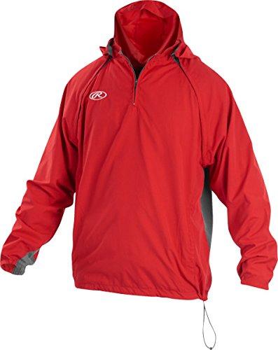Boy's Rawlings Sporting Goods Boys Youth Jacket W Removable Sleeves & Hood, Scarlet, Medium