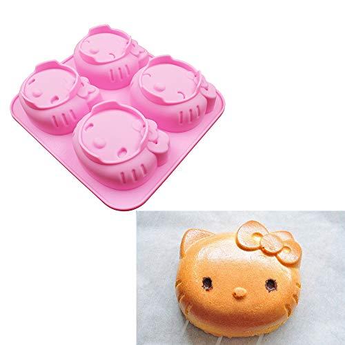 ANLIN Molde de silicona para manualidades, diseño de Hello Kitty con 4 agujeros con dos tipos de expresión