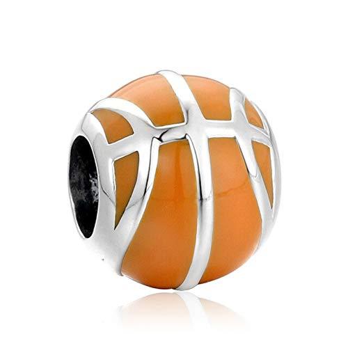 EVESCITY - Abalorio de Plata de Ley 925 con diseño de Baloncesto Realista para Pulseras de Abalorios como Pandora y Otros