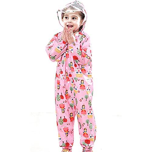 JHJCYZ Chubasquero Impermeable con Capucha para Niños De ala Transparente con Capucha, Abrigo De Anime, Pantalones, Traje (Rosa,XL)