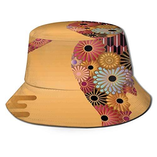 Sombreros de Cubo Decoración Ornamental de caballitos de mar con líneas Florales y de Rayas Estilo Kitsch Imagen Linda Visera Informal Gorra para Exteriores para protección UV
