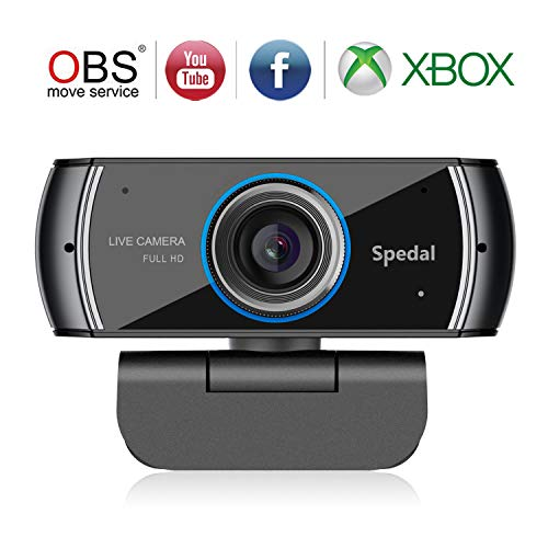 Spedal Full HD Webcam 1080p, Schönheit Live Streaming Webcam, Computer Laptop Kamera für OBS Xbox XSplit Skype Facebook, Kompatibel für Mac OS Windows 10/8/7
