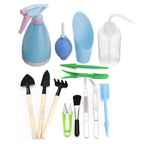 feichang Otras herramientas 14 piezas rastrillo pala pala mango de madera herramienta de cabeza de metal herramienta de riego jardín kit de herramientas