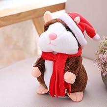 XINHU Pluchen Speelgoed, Praten Met Hoed Huisdier Hamster Voices Die Zijn Opgenomen Kinderen Geschenken (Color : Dark Brown)
