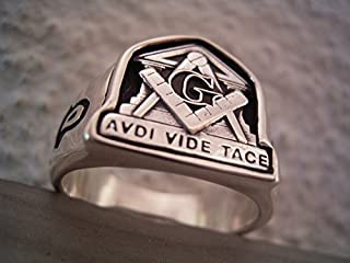 AVDI VIDE TACE RING Compasses Square Freemason Solid Sterling SILVER 925 GOLD Masonic Custom 10k 14k 18k