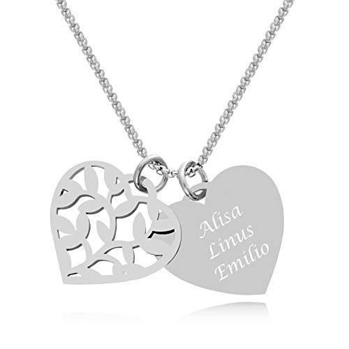 Timando Damen Namenskette Herz Lebensbaum Anhänger mit Gravur personalisiert