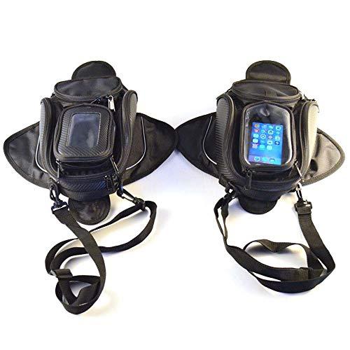 RJJ Motorcycle Bag Thick Oxford Cloth Motorcycle Fuel Tank Bag Navigation Package Riding Bag Magnet Transparent Package Visible Mobile Phone Bag Waterproof (black)