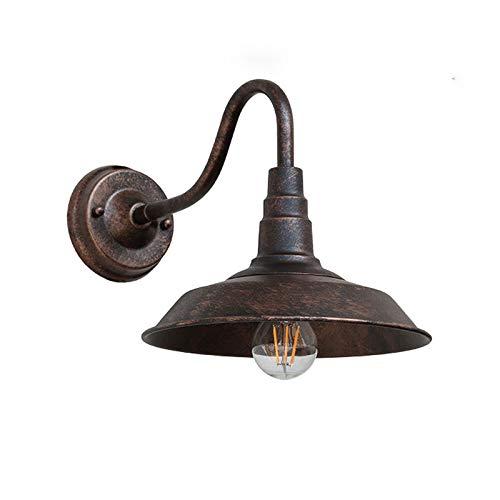 LIUDADA Lámpara de Pared Vintage Industrial Retro Apliques de Pared de Metal E27 Iluminación Interior para Salón Dormitorio Cuarto de Baño Pasillo Balcón Escaleras Café, Bronce, 26 x 25 cm