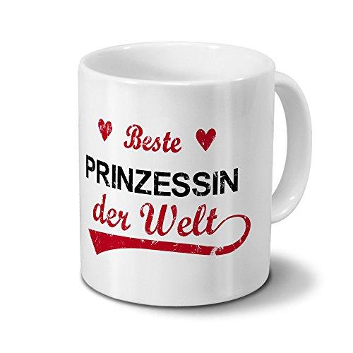 Tasse mit Namen Beste Prinzessin der Welt - Motiv Textart-Layout 3 - Namenstasse, Kaffeebecher, Mug, Becher, Kaffeetasse - Farbe Weiß