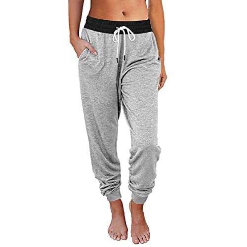 AUTOMET Womens Sweatpants Active Yoga Lounge Pants Drawstring High Waist Workout Joggers with Pockets Light Grey