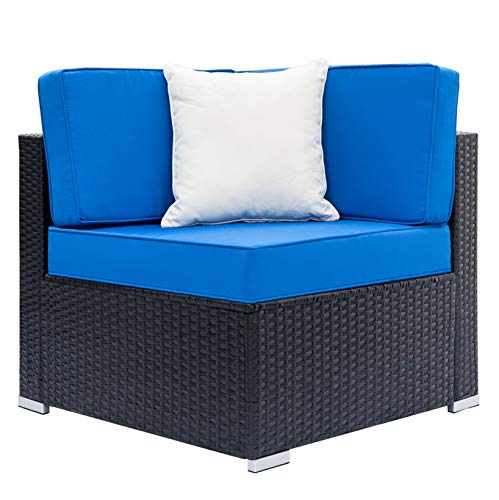 Outdoor Patio Garden Fully Equipped Weaving Rattan Right Sofa Corner Sofa Sofa Couch; for Small Apartment Living Room Bedroom; Black