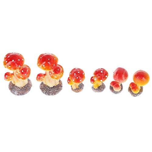 BESTonZON 6Pcs Mushroom Set for Garden,Red Toadstool Mushroom Ornaments Ideal Fairy Garden Decoration Decor