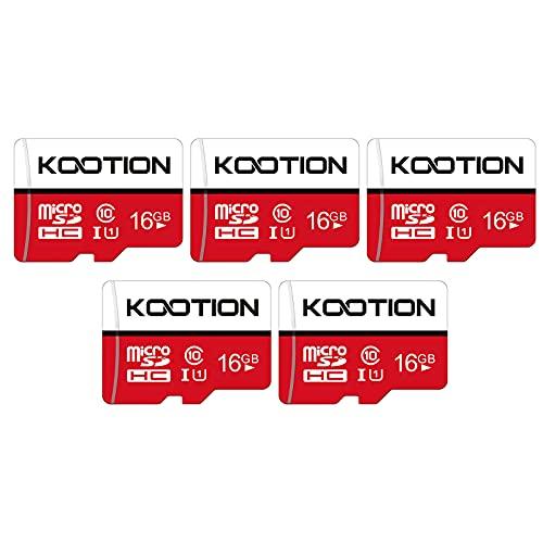 KOOTION Micro SD 16GB Clase 10 Tarjeta MicroSD(A1 y U1) Memoria Micro SDHC 16 Giga Memory Card Micro SD Cards 5 Pack con Adaptador para Gopro Cámara Teléfonos,Alta Velocidad de Lectura hasta 100 MB/s