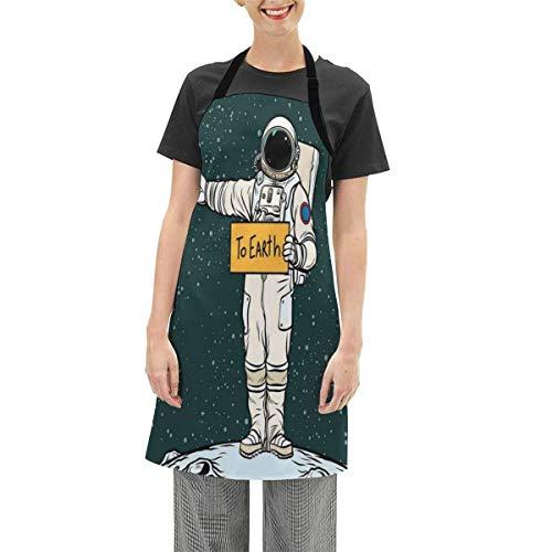 N\A Schürzen verstellbare Lätzchen Schürze Kochküche, Astronaut Per Anhalter Fahrt zur Erde von Neptun Travelling Planets Space Illustration, für Frauen Männer Chef
