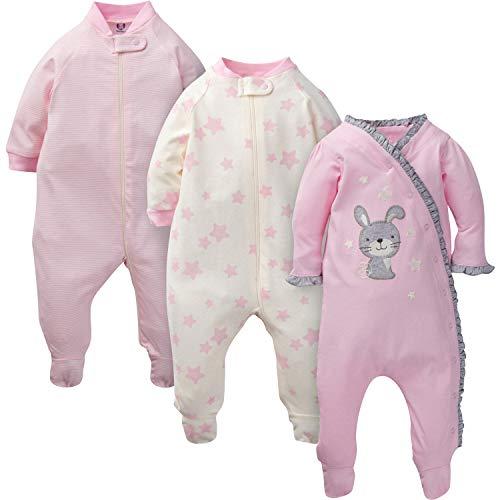 Gerber Baby Girls' 3-Pack Organic Sleep 'N Play, Twinkle Bunny, 0-3 Months