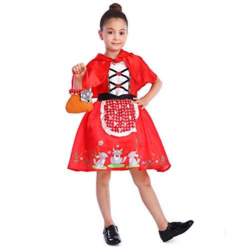Sincere Party - Disfraz de Caperucita Roja con Vestido con Capa y Cesta para niñas pequeñas 5-6 años