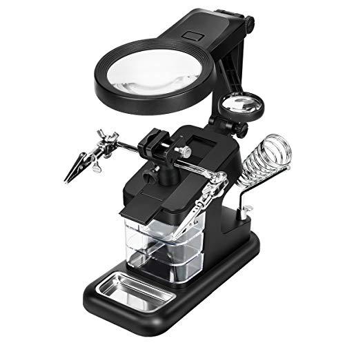 Powcan Lupa de soldadura multifuncional 3X   4,5X   25X Lupa de manos con ayuda de luz LED con pinza y pinzas de cocodrilo-Lupa para soldadura, ensamblaje, reparación y modelado,lupa lectura (negro)
