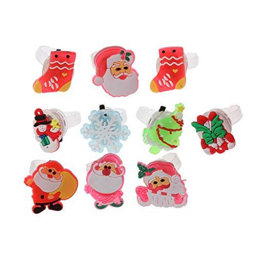 Gergxi 10Pcs Niños Navidad Anillos LED Luz Intermitente Anillos de Dedo Brillantes Juguetes Divertidos