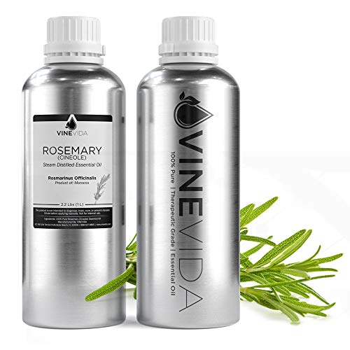 Bulk Essential Oil - 32 Oz Essential Oil in Aluminum Bottle - 100% Pure & Undiluted Essential Oil 32 Ounce - 2 Pound Oil for DIY Soaps, Candles, and Blends - VINEVIDA (Rosemary)