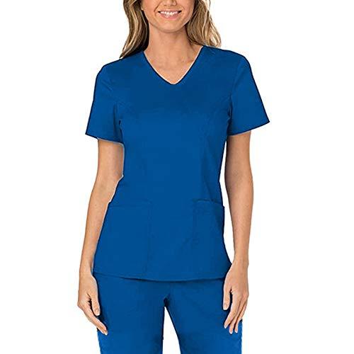 Xmiral Einfarbige Krankenschwesteruniform Mit V-Ausschnitt Für Damen Slim Fit Workwear T-Shirt Mit Zwei Taschen(Blau,S)