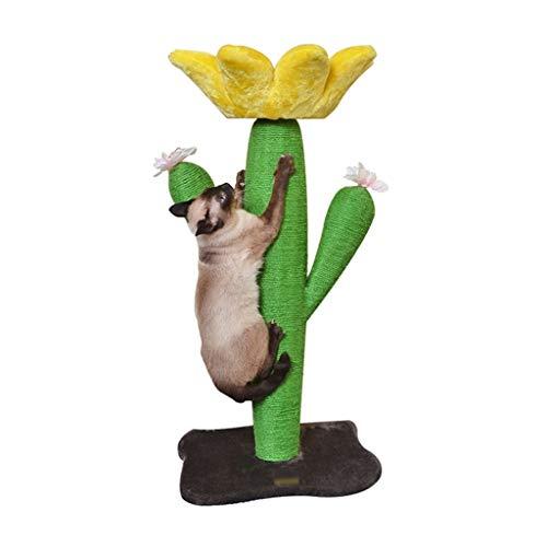 LiPengTaoShop Tiragraffi Cat Torre Cat Mobili Cat Condo Cat House Cactus A Forma di Forma di Fiore Sisal Tiragraffi Flanella Cat Bed Accessori Cat (Color : Green, Size : 43 * 43 * 91.5cm)