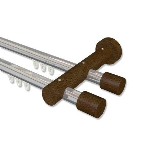 Preisvergleich Produktbild INTERDECO Innenlauf Gardinenstange in Chrom / Nussbaum doppelläufig Alu-Holz 20 mm Ø Talent Feta,  480 cm