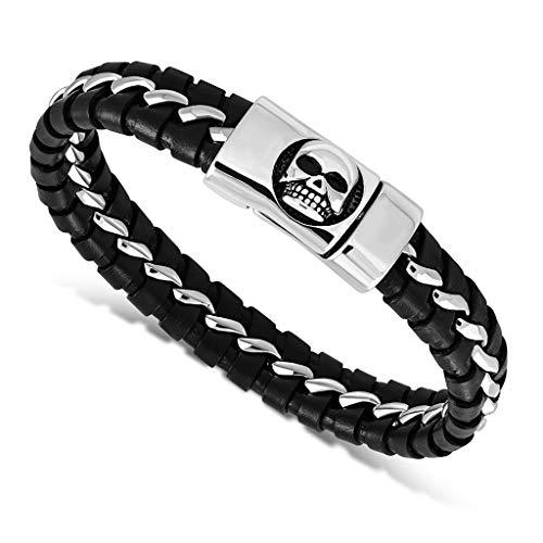 Autiga Leder-Armband Totenkopf Skull Herren Armband aus geflochtenem Rindsleder mit Edelstahl Biker schwarz 22 cm