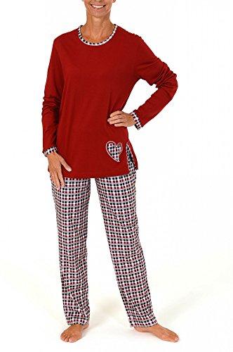 Normann dames pyjama lang met geruite broek en hart applicatie - 59623, maat: 44/46; kleur: rood