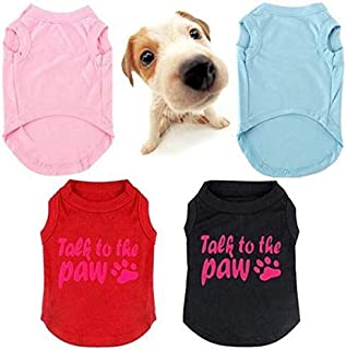 Talk to The Paw Small Paw Print Pet Dog Cat Summer Cotton Vest - Blue XL