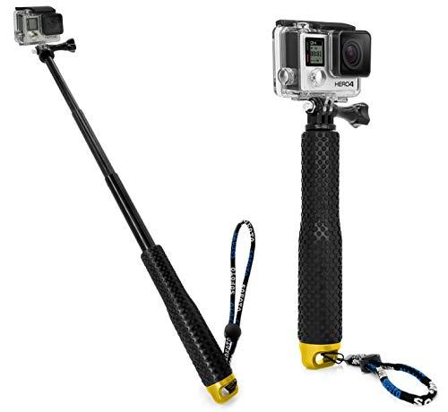 MyGadget Action Kamera Teleskopstange Selfie Stick (wasserdicht) - Zubehör Stange mit Handgriff geeignet für GoPro Hero Black 7/8 6 5 4 3+ 3, Xiaomi Yi 4K - Gold