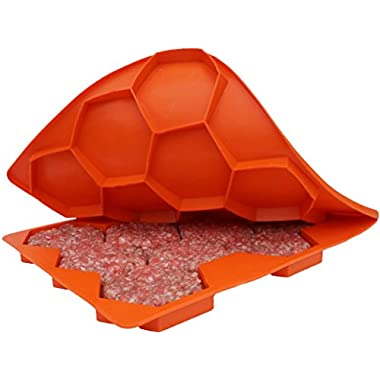 Shape+Store Burger Master Sliders 10 in 1 Innovative Burger Press and Freezer Container, 10-Patty, Blaze Orange
