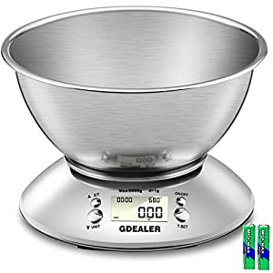 GDEALER Digital Kitchen Scale 11lb/5kg Accuracy Food Scale Multifunction Kitchen Scale with Bowl