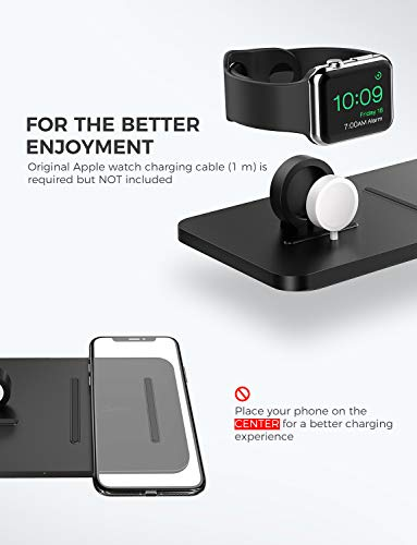 """Wireless Charger, Seneo 2 in 1 Dual Wireless Charging Pad 3 It Is Bound to Be Different - The base of the Watch charging dock had been sloped, which is convenient to connect with Watch tightly. The wireless charging pad decorated with threaded silicone for stable charging and it is also the """"sweet spot"""" for charging accurately. How to Improve Concentration - Use Seneo wireless charging pad improving concentration in work or study and without interruption. Just put your phone on the wireless charger, juice yourself, and your phone up simultaneously. The Close Partner on the Bedside - The mute charging and the green gentle indicator shows that the charging is in progress with stability and without interruption."""