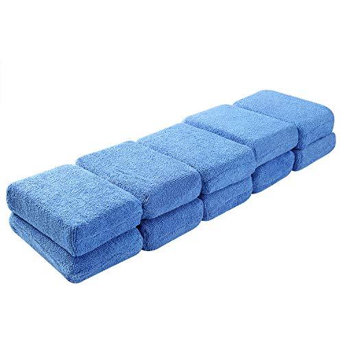 Mikrofaser-Wachs-Applikator-Pads – 10er-Packung, Schwämme für professionelle Autopflege, 12 x 8 x 3 cm, waschbare, weiche Schaumstoff-Applikationspads für Politur (blau)