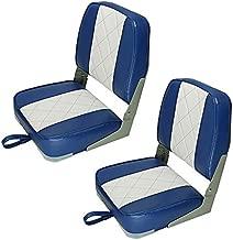 Seamander Marine Low Back Boat Seat (Blue/White(2-Pack 101S))