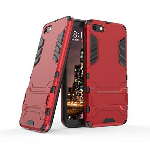 HDRUN Huawei Y5 2018 / Y5 Prime 2018 / Honor 7S Hülle, 2 In1 Kratzfeste Handyhülle Hybrid TPU Silikon Bumper Schale PC Doppelschichter Schutzhülle Standfunktion für Huawei Y5 2018 Hülle Cover, Rot
