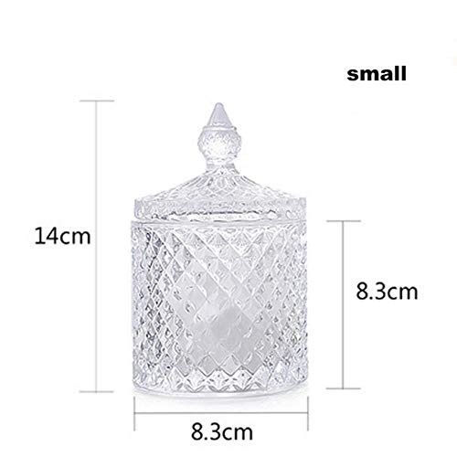 KKRIIS 1pcs European Crystal Glass Bottle Storage Jars Sugar cans Diamond Candy Cotton swabs Pad Box Home Decoration Kitchen Accessory,Transparent Small