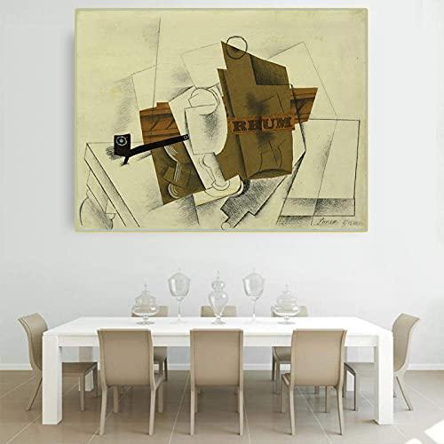 Pablo Picasso 《Pipa, vidrio, botella de ron》 Lienzo Arte Pintura al óleo Obra de arte Póster Imagen Decoración de pared moderna Decoración del hogar 40x50cm (16x20in) Marco interior