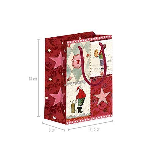 Geschenktüten 3er Set klein zu Weihnachten aus Papier, Geschenkverpackung mit Henkel, Geschenktüte mit Boden für Kinder, Junge oder Mädchen, Papiertüten xmas Adventskalender