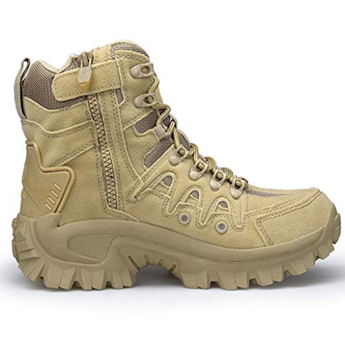 YMXYMM Botas Militares para Hombres Impermeables,Bota táctica Ligera con Cremallera Lateral,Zapato de Combate del ejército,Bota selvática con Cordones Antideslizante,Sand Color-42