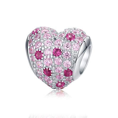 Abalorio de plata de ley 925 con corazón de cristal rosa compatible...