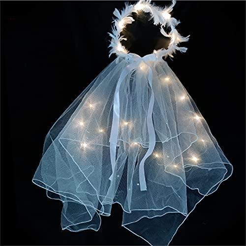 Wandskllss Velo para niños con luz decoración de Navidad con perlas nupcial velo de boda blanco luminoso hilo Super Fairy Ribbon Bow velo mejorado color cálido
