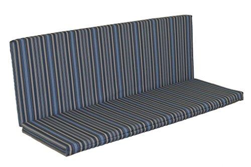 A & L Furniture Sundown Agora 6' Full Bench Cushion, Seat 68L 17W 1' T, Back 68L 21H 1' T, Overall 68L 38W 1' T, Blue Stripe